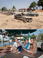 A tsunami struck the coast of Thailand on the morning of December 26. The destruction was great in  Khao Lak, north of Phuket, Thailand, were thousands of tourists and locals died. Large holiday resorts were reduced to rubble. Since then hotels have been rebuilt an new resorts have sprung up. There are now several thousands more hotel beds in Khao Lak than before the tsunami. The Dahlström family from Sweden stayed in one of the new hotels in November 2009, built on land that was open when the tsunami struck. From left: Jörgen, Erik, Johanna and Sara Dahlström.