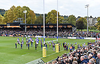 The Bath Rugby team run out onto the field for the second half. Aviva Premiership match, between Bath Rugby and Exeter Chiefs on October 17, 2015 at the Recreation Ground in Bath, England. Photo by: Patrick Khachfe / Onside Images