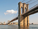 A late afternoon view of the Brooklyn Bridge from the Manhattan waterfront