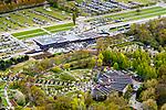Nederland, Noord-Holland, Lisse, 28-04-2017; De Keukenhof, bloemenpark en bloemententoonstelling met de nieuwe entree van Mecanoo architecten.<br /> The new Keukenhof gatehouse, designed by Mecanoo.<br /> Keukenhof is an permanent exhibition of spring-flowering bulbs .<br /> <br /> luchtfoto (toeslag op standard tarieven);<br /> aerial photo (additional fee required);<br /> copyright foto/photo Siebe Swart
