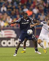 New England Revolution midfielder Shalrie Joseph (21) traps the ball. The New England Revolution defeated LA Galaxy, 2-0, at Gillette Stadium on July 10, 2010.