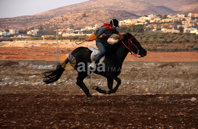 A Palestinian jockey competes during a horse race in the West Bank village of Beit Fourik, near the town of Nablus, on 08 November 2011. Some 60 horses in different heats participated in races through the day, attracting jockeys from across the West bank and from some Arab-Israeli town . Photo by Wagdi Eshtayah