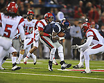 Ole Miss wide receiver Melvin Harris (5) makes a catch vs. Louisiana-Lafayette in Oxford, Miss. on Saturday, November 6, 2010. Ole Miss won 43-21.