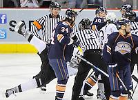 San Antonio Rampage and Oklahoma City Barons players scrum during the third period of an AHL hockey game, Friday, May 11, 2012, in San Antonio. Oklahoma City won 4-3. (Darren Abate/pressphotointl.com)