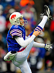 30 November 2008: Buffalo Bills' punter Brian Moorman warms up prior to facing the San Francisco 49ers at Ralph Wilson Stadium in Orchard Park, NY. The 49ers defeated the Bills 10-3. ***** Editorial Use Only ******..Mandatory Photo Credit: Ed Wolfstein Photo