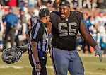 Oakland Raiders guard Gabe Jackson (66) talks to ref on Saturday, December 24, 2016, at O.co Coliseum in Oakland, California.  The Raiders defeated the Colts 33-25.