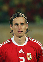 Hungary's Janos Szabo (2)  stands on the field before the match against Italy during the FIFA Under 20 World Cup Quarter-final match at the Mubarak Stadium  in Suez, Egypt, on October 09, 2009. Hungary won 2-3 in overtime.