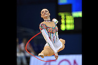 September 11, 2009; Mie, Japan;  Anna Bessonova of Ukraine split leaps with rope to win bronze in the All Around final on this day at 2009 World Championships Mie. Anna was the 2007 AA world champion at Patras, Greece in the individual All Around. (Photo note: Image #4 from this series of split leaps) Photo by Tom Theobald. .