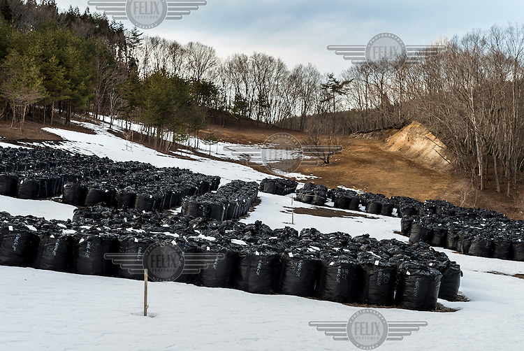 Sacks of contaminated topsoil and other radioactive waste which have been removed from contaminated areas as part of the clean up process following the 2011 Fukushima Daiichi nuclear disaster. Each bag contains a cubic metre of soil and so far they have removed 9.5 million bags.  On 11 March 2011 a magnitude 9 earthquake struck 130 km off the coast of Northern Japan causing a massive tsunami that swept across the coast of Northern Honshu damaging the Fukushima Daiichi nuclear power plant and triggering the worst nuclear accident since Chernobyl. The plant was shut down and a 20 km evacuation zone around the plant was declared by the government. Levels of radiation in the evacuation zone remain high.