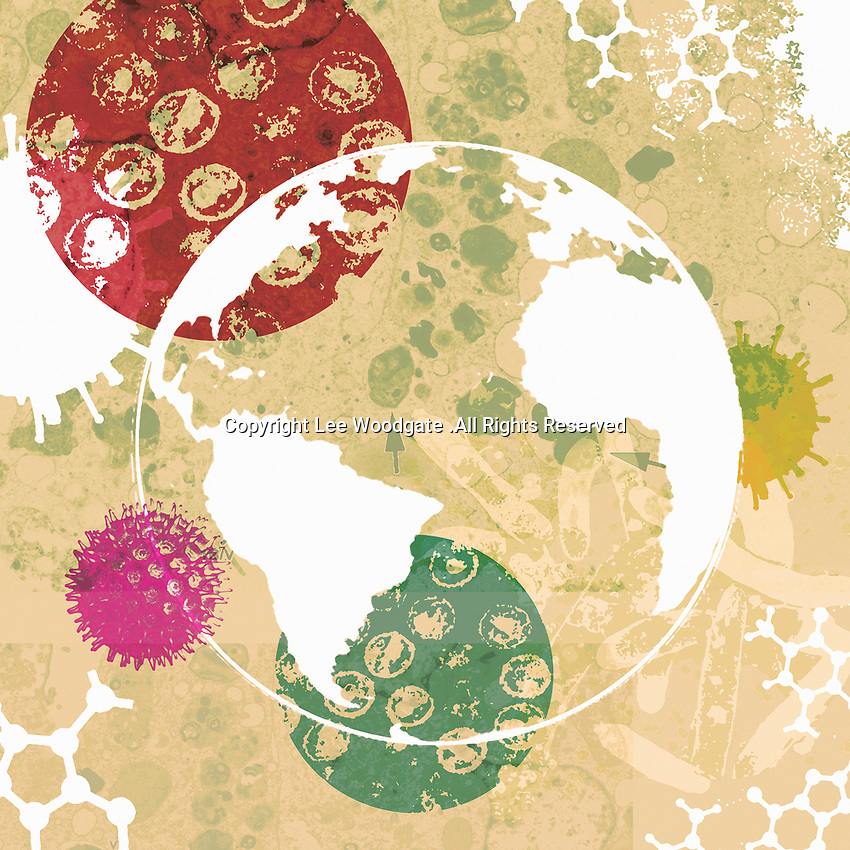 Globe surrounded by bacteria and viruses
