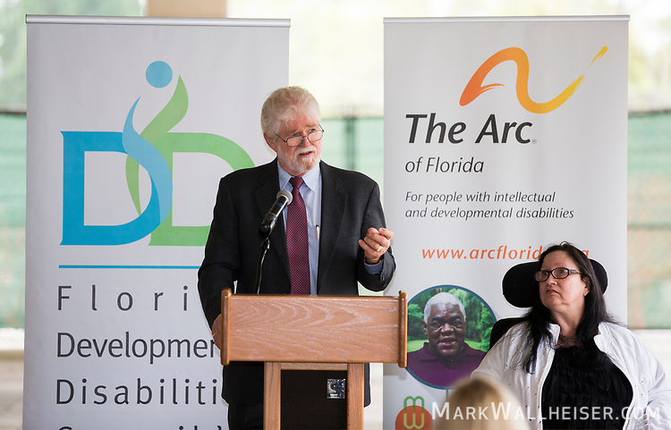 """Richard """"Dick"""" Bradley, from Yanketown, Chair of The Arch of Florida and a member of the Florida Developmental Disabilities Council, speaks during the Developmental Disabilities Awareness Day 2017 at the Florida Capitol sponsored by the Florida Developmental Disabilities Council, Inc and The Arc of Florida."""