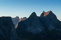 Granite mountain peaks of Moskenesoy from near summit of Helvetestinden, Lofoten Islands, Norway