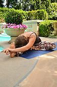 Young woman doing yoga outside