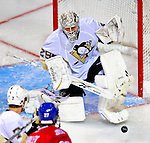 3 February 2009: Pittsburgh Penguins' goaltender Marc-Andre Fleury makes a save during the second period against the Montreal Canadiens at the Bell Centre in Montreal, Quebec, Canada. The Canadiens defeated the Penguins 4-2. ***** Editorial Sales Only ***** Mandatory Photo Credit: Ed Wolfstein Photo