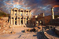 photo & image of The library of Celsusat sunrise . Images of the Roman ruins of Ephasus, Turkey. Stock Picture & Photo art prints