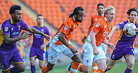 Blackpool's Nathan Delfouneso gets away from Cheltenham Town's Jordan Cranston<br /> <br /> Photographer Alex Dodd/CameraSport<br /> <br /> The EFL Sky Bet League Two - Blackpool v Cheltenham Town - Saturday 22nd April 2017 - Bloomfield Road - Blackpool<br /> <br /> World Copyright &copy; 2017 CameraSport. All rights reserved. 43 Linden Ave. Countesthorpe. Leicester. England. LE8 5PG - Tel: +44 (0) 116 277 4147 - admin@camerasport.com - www.camerasport.com