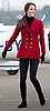 KATE Middleton Sports Gold-Buttoned Red Jacket
