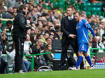 Celtic v St Johnstone....01.04.12   SPL.Steve Lomas gives captain Jody Morris a pat on the back as he is subbed late on .Picture by Graeme Hart..Copyright Perthshire Picture Agency.Tel: 01738 623350  Mobile: 07990 594431