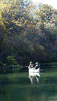 NWA Democrat-Gazette/FLIP PUTTHOFF <br /> Matt (left) and Hog Ears Hughes fish Oct. 17, 2015 a quiet pool on Bryant Creek in south-central Missouri.
