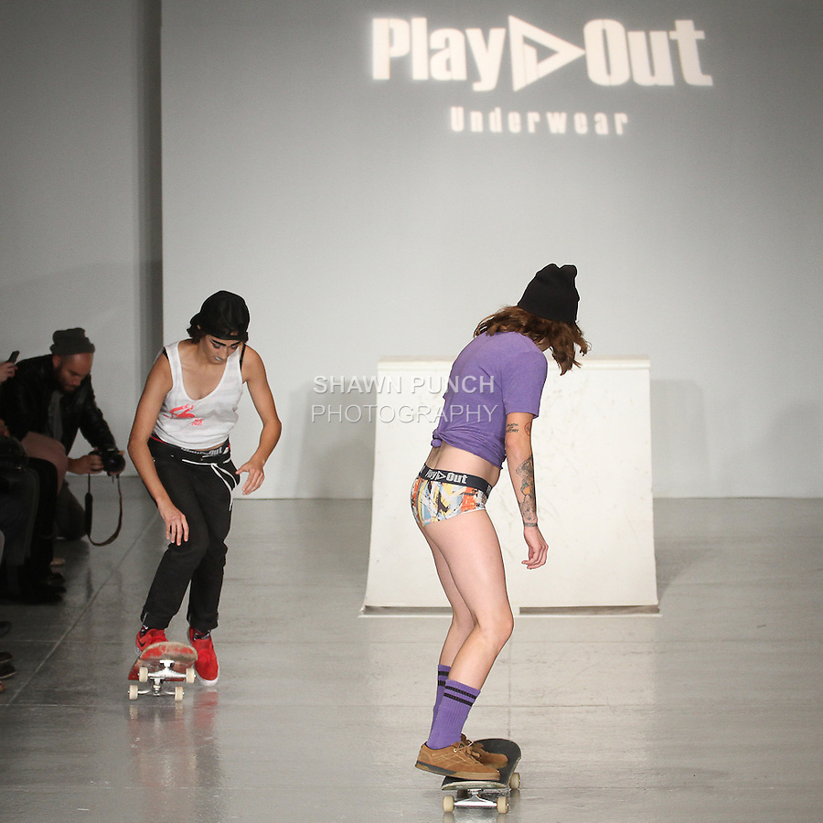 Jennifer Soto (left) and Celina Meehan from All Girl Skate Jam, skate on runway for the Play Out Underwear Spring Summer 2015 collection by Sylvie Lardeux and Abby Sugar, during LingerieFW Spring Summer 2015.