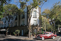 An art instalation of an antique car outside the Hotel Condesa DF, a boutique hotel in the Colonia Condesa belonging to the Habita group. Mexico City