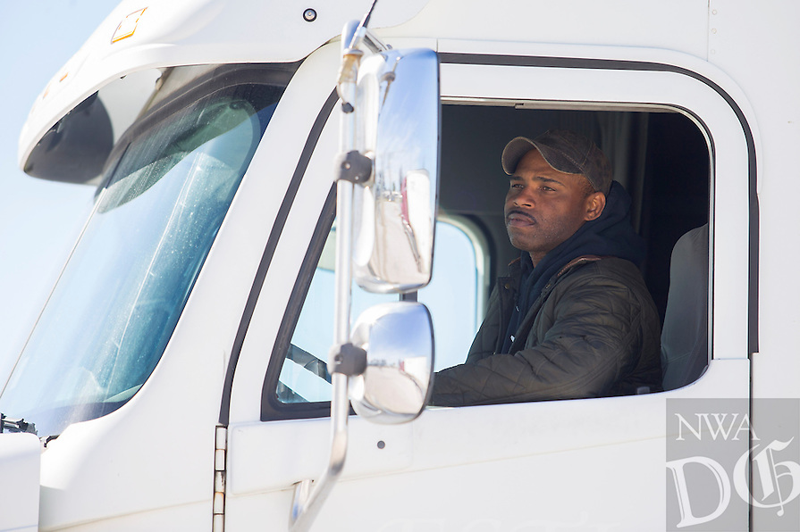 NWA Democrat-Gazette/JASON IVESTER<br /> Steven Covington of Bethel Heights checks his mirror while reversing on a course Wednesday, March 1, 2017, during the CDL class at Northwest Technical Institute in Springdale.