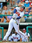 6 March 2012: Atlanta Braves first baseman Freddie Freeman in action during a Spring Training game against the Washington Nationals at Champion Park in Disney's Wide World of Sports Complex, Orlando, Florida. The Nationals defeated the Braves 5-2 in Grapefruit League action. Mandatory Credit: Ed Wolfstein Photo