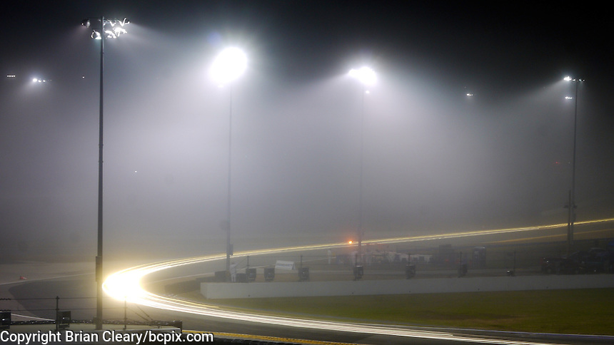 Light streaks, time-exposure, Rolex 24 at Daytona, at Daytona INternational Speedway, Daytona Beach, FL (Photo by Brian Cleary/www.bcpix.com)