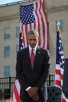 WASHINGTON DC - SEPTEMBER 11: United States President Barack Obama attends the Pentagon Memorial in Washington, DC during an observance ceremony to commemorate the 15th anniversary of the 9/11 terrorist attacks, Sunday, September 11, 2016. <br /> Credit: Dennis Brack / Pool via CNP/MediaPunch