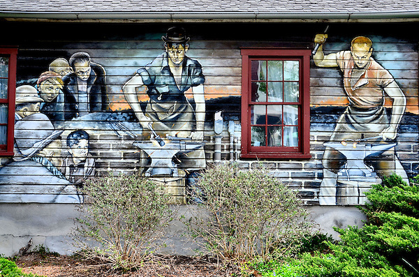 Blacksmiths mural by wayne fettro in lancaster county for Mural tour philadelphia map
