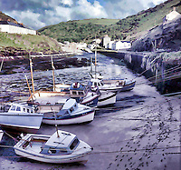 Painterly effect on photograph of Boscastle Harbour, Cornwall, UK.