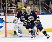 Mike Johnson (Notre Dame - 32), Stephen Johns (Notre Dame - 28) - The University of Notre Dame Fighting Irish defeated the Merrimack College Warriors 4-3 in overtime in their NCAA Northeast Regional Semi-Final on Saturday, March 26, 2011, at Verizon Wireless Arena in Manchester, New Hampshire.