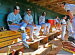 8 July 2012: Vermont Lake Monsters sit in the dugout, waiting to take the field, prior to a game against the State College Spikes at Centennial Field in Burlington, Vermont. The Lake Monsters rallied from a 2-0 late inning deficit, to defeat the Spikes 8-2 in NY Penn League action. Mandatory Credit: Ed Wolfstein Photo