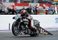 Apr. 27, 2012; Baytown, TX, USA: NHRA pro stock motorcycle rider Eddie Krawiec  during qualifying for the Spring Nationals at Royal Purple Raceway. Mandatory Credit: Mark J. Rebilas-