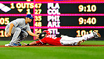 23 April 2010: Washington Nationals' infielder Adam Kennedy slides safely into second during a game against the Los Angeles Dodgers at Nationals Park in Washington, DC. The Nationals defeated the Dodgers 5-1 in the first game of their 3-game series. Mandatory Credit: Ed Wolfstein Photo