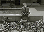 A man feeds pigeons by a public well in a plaza in Barcelona<br />