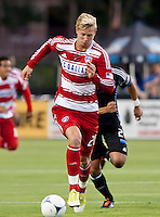 Santa Clara, California - Saturday July 18, 2012: FC Dallas' Brek Shea dribbles down the field during a game against San Jose Earthquakes at Buck Shaw Stadium, Stanford, Ca   San Jose Earthquakes defeated FC Dallas 2 - 1.