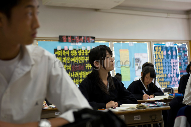 Students attend a Korean Language class at the Tokyo Korean High School in Tokyo, Japan on Thursday 07 October, 2010..Photographer: Robert Gilhooly