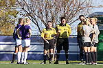 21 October 2012: Referee Michael Kennedy flips a coin before the game. The Northwestern University Wildcats played the University of Iowa Hawkeyes at Lakeside Field in Evanston, Illinois in a 2012 NCAA Division I Women's Soccer game. Northwestern won the game 1-0.