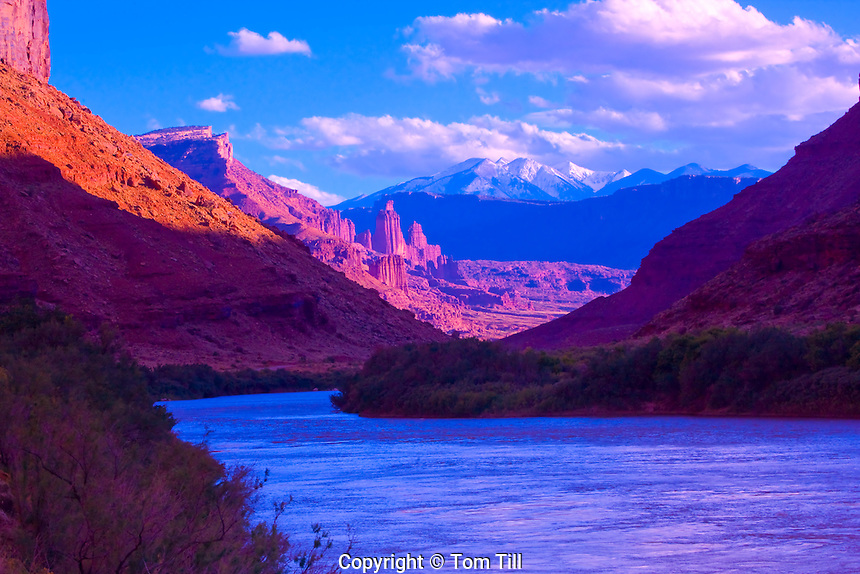 Colorado River, Utah  Fisher Towers and La Sal Mountains beyond BLM lands and Manti-La Sal National Forest