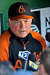 18 May 2012: Baltimore Orioles Manager Buck Showalter sits in the dugout prior to a game against the Washington Nationals at Nationals Park in Washington, DC. The Orioles defeated the Nationals 2-1 in the first game of their 3-game series. Mandatory Credit: Ed Wolfstein Photo