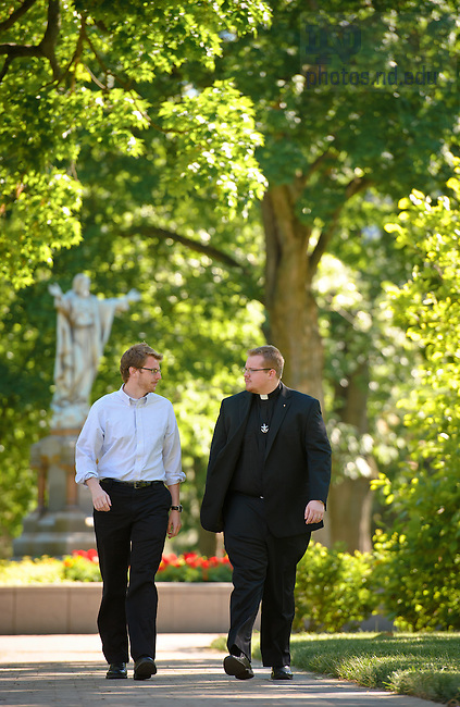 May 24, 2013; Rev. Jarrod Waugh, C.S.C. speaks with a seminarian.<br /> <br /> Photo by Matt Cashore/University of Notre Dame