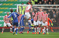 Chelsea's Marcos Alonso srikes a free kick over the Stoke City's wall<br /> <br /> Photographer Mick Walker/CameraSport<br /> <br /> The Premier League - Stoke City v Chelsea - Saturday 18th March 2017 - bet365 Stadium - Stoke<br /> <br /> World Copyright &copy; 2017 CameraSport. All rights reserved. 43 Linden Ave. Countesthorpe. Leicester. England. LE8 5PG - Tel: +44 (0) 116 277 4147 - admin@camerasport.com - www.camerasport.com