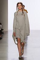 Model walks runway in an outfit by Allison Martell, for the 2017 Pratt fashion show on May 4, 2017 at Spring Studios in New York City.