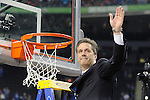 2 APR 2012: Head coach John Calipari from the University of Kentucky waives to the fans following the Championship Game of the 2012 NCAA Men's Division I Basketball Championship Final Four held at the Mercedes-Benz Superdome hosted by Tulane University in New Orleans, LA. Kentucky defeated Kansas 67-59 to claim the championship title. Ryan McKeee/ NCAA Photos.
