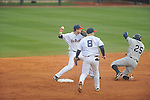Ole Miss' Preston Overbey (1) throws to first for a double play vs. UT-Martin at Oxford-University Stadium in Oxford, Miss. on Wednesday, February 20, 2013. Ole Miss won 15-2 to improve to 4-0.