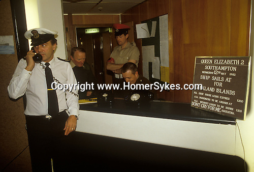 Falklands War. QE2 notice board Southampton Dock Wednesday 12 May 1982. Queen Elizabeth 11 sails for the Falklands.