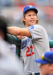 5 September 2011: Los Angeles Dodgers pitcher Clayton Kershaw in the dugout during a game against the Washington Nationals at Nationals Park in Los Angeles, District of Columbia. The Nationals defeated the Dodgers 7-2 in the first game of their 4-game series. Mandatory Credit: Ed Wolfstein Photo