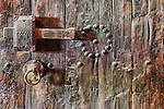 Old moroccan, wooden door detail.