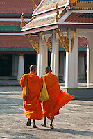 Two young monks walk together in the Grand Palace near the Emerald Buddha Temple. Originally a small village on the banks of the Chao Phraya River, modern Bangkok (officially known as Krung Thep - City of Angels) was established in 1809 when the Grand Palace and Wat Phra Kaew where carved out of swampland. While no longer a royal residence, the Grand Palace houses more than 100 buildings, temples, and statues.